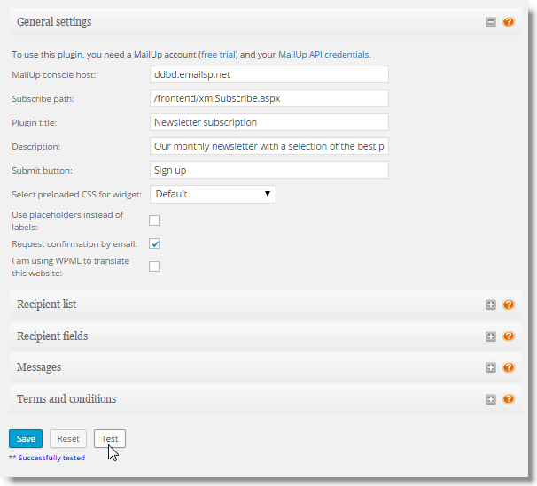 Testing MailUp account is connected to WordPress