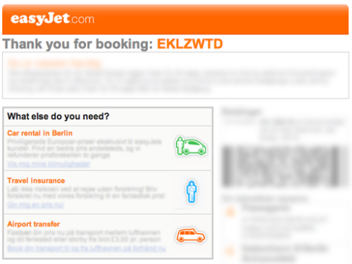 The easyJet thank you email