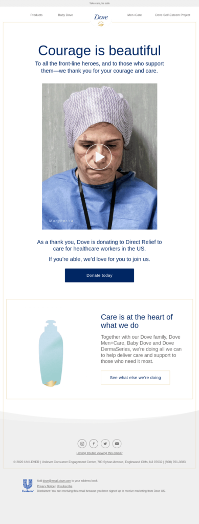 dove emotional email example