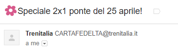 The email subject of Trenitalia