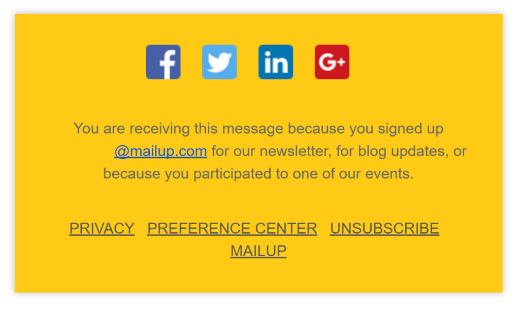 Unsubscribe link email MailUp